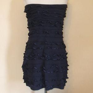 Express Navy Blue Strapless Ruffle Dress